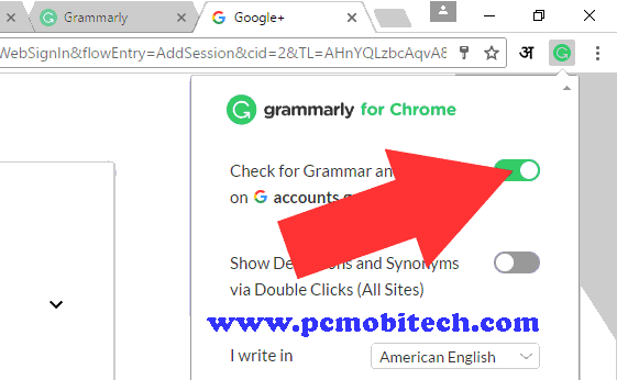 Disable grammarly extension for specific website