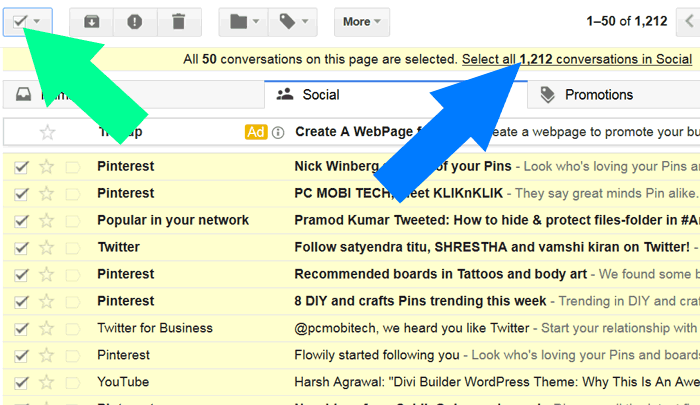 how to delete all inbox email messages from gmail account in one click