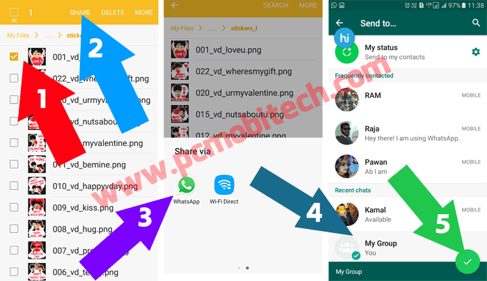 How to Share or Send Unlimited Hike Stickers to WhatsApp Facebook and Other apps 2