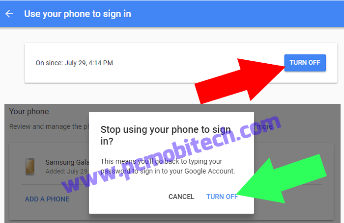 How to disable if Google prompt from Google Account