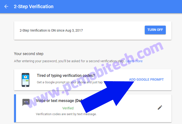 Enable Google Prompt with 2 factor security