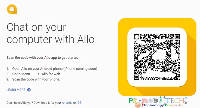 How to Use Google Allo on PC with Google Chrome Browser QR Code