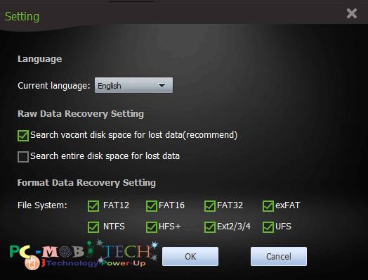 Amigabit data recovery Settings 2