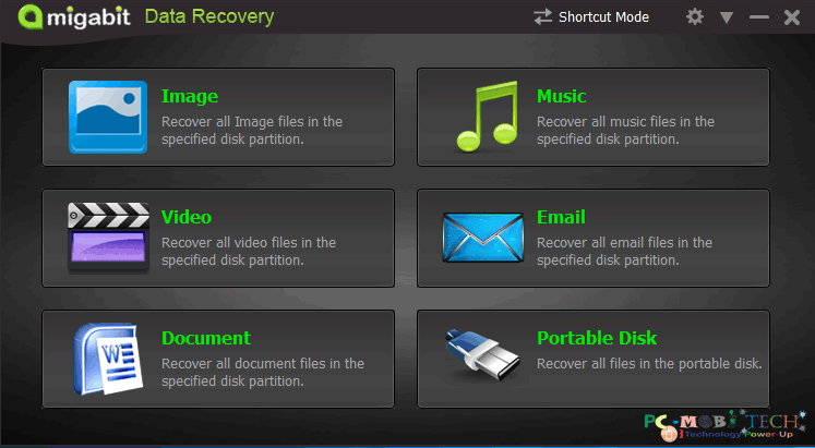 Amigabit data recovery Shortcut mode