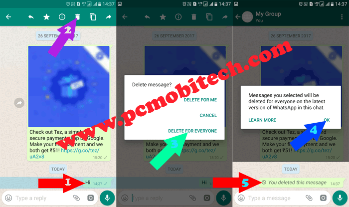 How to Delete mistakenly sent messages on WhatsApp