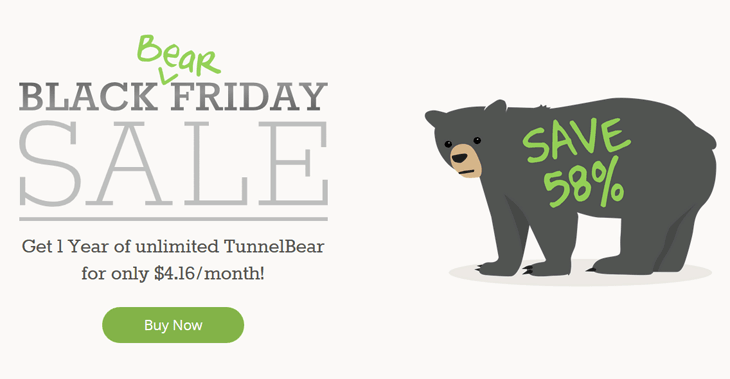 Tunnel Bear Black Friday and Cyber Monday Discount Sale