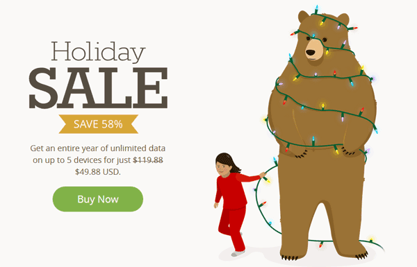 TunnelBear VPN Disccount Sale, Holiday Sale 58% off