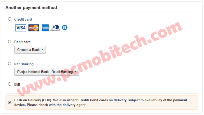 Cash On delivery Payment Option