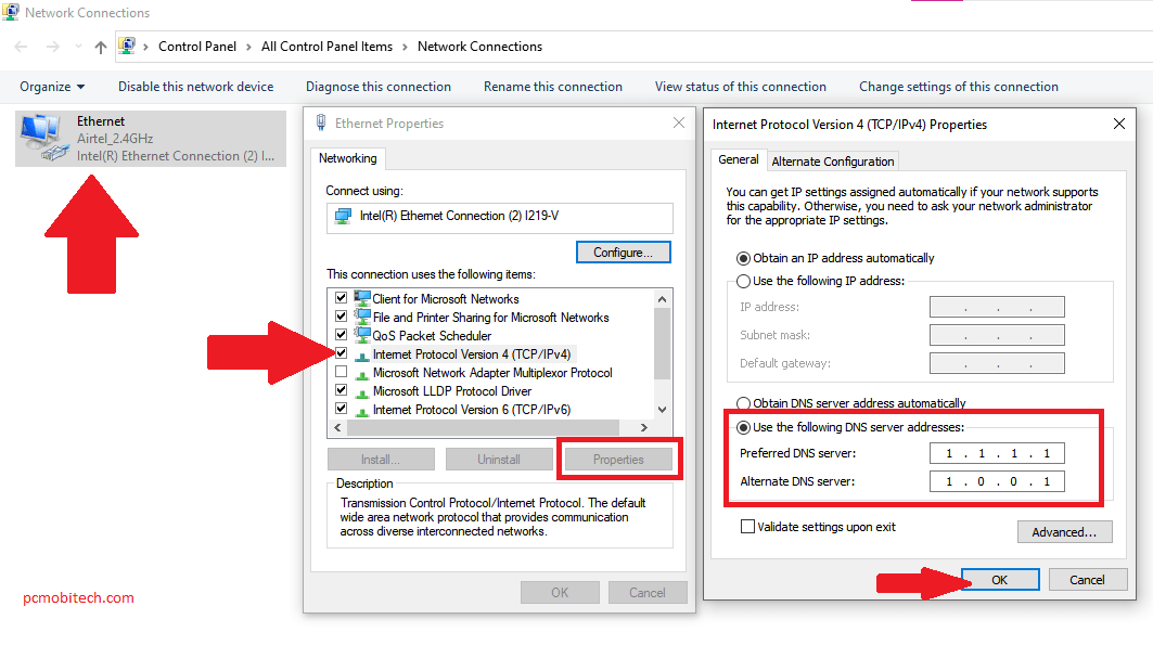 Internet connection issue with changing DNS